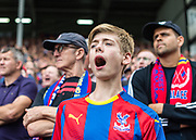 Crystal Palace fan during the Premier League match between Fulham and Crystal Palace at Craven Cottage, London, England on 11 August 2018.