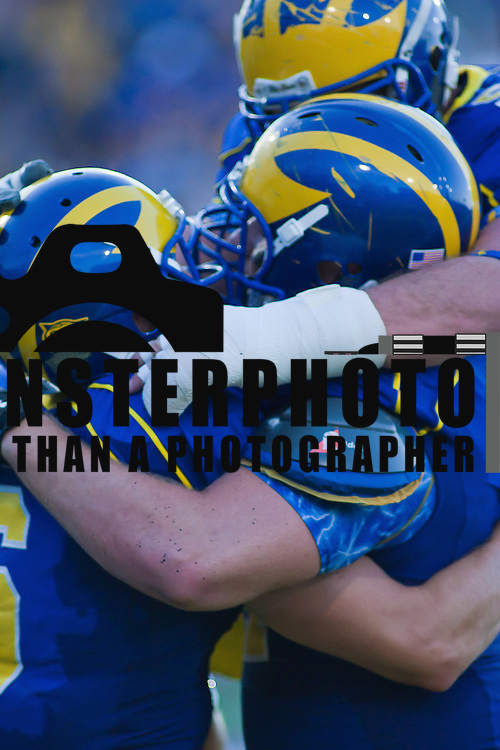 Delaware Wide receiver Mark Schenauer #6 celebrates with his team mates the end zone after catching a 26 yard touchdown during a Week 2 NCAA football game against Westchester in the second quarter. ..#8 Delaware defeated Westchester 31-10  in their home opener at Delaware Stadium Saturday Sept. 10, 2011 in Newark DE...Delaware will return home Sept. 17, 2011 for a showdown with interstate Rival Delaware State at 6:pm at Delaware Stadium. (Monsterphoto/Saquan Stimpson)