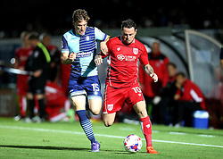 Lee Tomlin of Bristol City goes past Dayle Southwell of Wycombe Wanderers - Mandatory by-line: Robbie Stephenson/JMP - 09/08/2016 - FOOTBALL - Adams Park - High Wycombe, England - Wycombe Wanderers v Bristol City - EFL League Cup
