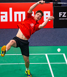 Ties van der Lecq in action during the Dutch Championships Badminton on February 2, 2020 in Topsporthal Almere, Netherlands