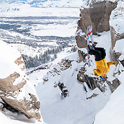 Veronica Paulsen pulling a backflip into Corbet's for her first run.