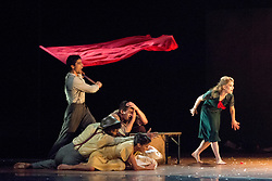 © Licensed to London News Pictures. 22/10/2013. Rambert Dance Company returns to Sadler's Wells Theatre London with the London premiere of The Castaways, choreographedby Barak Marshall. The Castaways is a humorous and uplifting tale set to a vibrant mix of traditional Yiddish music and American popular tunes from the 1950s. Photo credit: Tony Nandi/LNP.