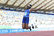 Brittney Reese (USA) places third in the women's long jump at 22-2¼ (6.76m) during the 39th Golden Gala Pietro Menena in an IAAF Diamond League meet at Stadio Olimpico in Rome on Thursday, June 6, 2019. (Jiro Mochizuki/Image of Sport)