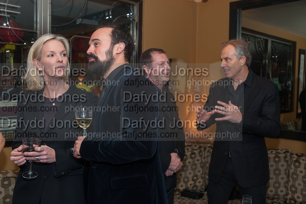 ELIZABETH MURDOCH; EVGENY LEBEDEV; MATTHEW FREUD; TONY BLAIR, Chinese New Year dinner given by Sir David Tang. China Tang. Park Lane. London. 4 February 2013.