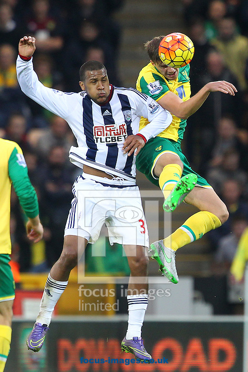 Ryan Bennett of Norwich and Jose Salomon Rondon of West Bromwich Albion during the Barclays Premier League match at Carrow Road, Norwich<br /> Picture by Paul Chesterton/Focus Images Ltd +44 7904 640267<br /> 24/10/2015