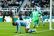 Raheem Sterling (#7) of Manchester City reacts as he fails to find the net with his late effort during the Premier League match between Newcastle United and Manchester City at St. James's Park, Newcastle, England on 30 November 2019.