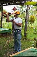 Preparations for an adventure canopy/zipline tour near Lapa Rios Ecolodge, Osa Peninsula, Costa Rica.