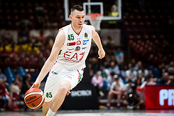 April 29, 2018 - Milan, Milan, Italy - Dairis Bertans (#45 EA7 Emporio Armani Milano) drives to the basket during a basketball game of Poste Mobile Lega Basket A between  EA7 Emporio Armani Milano vs VL Pesaro at Mediolanum Forum, in Milan, Italy, on April 29, 2018. (Credit Image: © Roberto Finizio/NurPhoto via ZUMA Press)