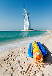 Luxury Burj al Arab Hotel on beach front in Dubai United Arab emirates
