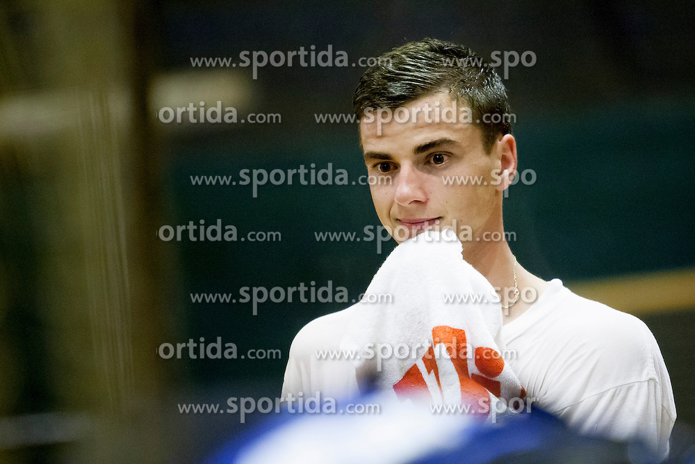 Blaz Bizjak as sparring partner during practice session before Davis Cup between National team of Slovenia and JAR on September 9, 2013 in Sports center Dolgi most, Ljubljana, Slovenia. (Photo By Urban Urbanc / Sportida)