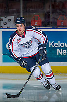 KELOWNA, CANADA - OCTOBER 27:  Riley Sawchuk #26 of the Tri-City Americans warms up against the Kelowna Rockets on October 27, 2017 at Prospera Place in Kelowna, British Columbia, Canada.  (Photo by Marissa Baecker/Shoot the Breeze)  *** Local Caption ***