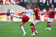 Ben Osborn (11) of Nottingham Forset battles for possession with Niclas Eliasson (19) of Bristol City during the EFL Sky Bet Championship match between Bristol City and Nottingham Forest at Ashton Gate, Bristol, England on 4 August 2018. Picture by Graham Hunt.