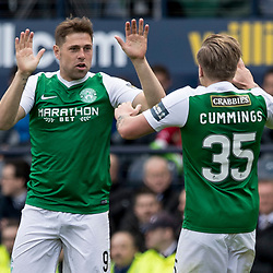 Grant Holt (Hibernian) celebrate goal with Jason Cummings (Hibernian)  during the William Hill Scottish Cup semi-final between Hibernian and Aberdeen at Hampden Park Stadium on 22 April 2017.<br /> <br /> Picture: Alan Rennie