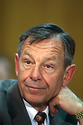 WASHINGTON, DC, USA - 1997/04/16: Ohio Governor George Voinovich testifies in the U.S. Senate Committee on Appropriations: Subcommittee on Labor, Health and Human Services, and Education on funding for early childhood education April 16, 1997 in Washington, DC.    (Photo by Richard Ellis)