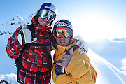 Jono Brauer and Craig Branch at Points North Heliskiing in Corova Alaska. MR