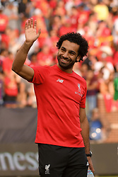 July 28, 2018 - Ann Arbor, MI, U.S. - ANN ARBOR, MI - JULY 28: Liverpool Forward Mohamed Salah (11) waves to the fans following the ICC soccer match between Manchester United FC and Liverpool FC on July 28, 2018 at Michigan Stadium in Ann Arbor, MI (Photo by Allan Dranberg/Icon Sportswire) (Credit Image: © Allan Dranberg/Icon SMI via ZUMA Press)