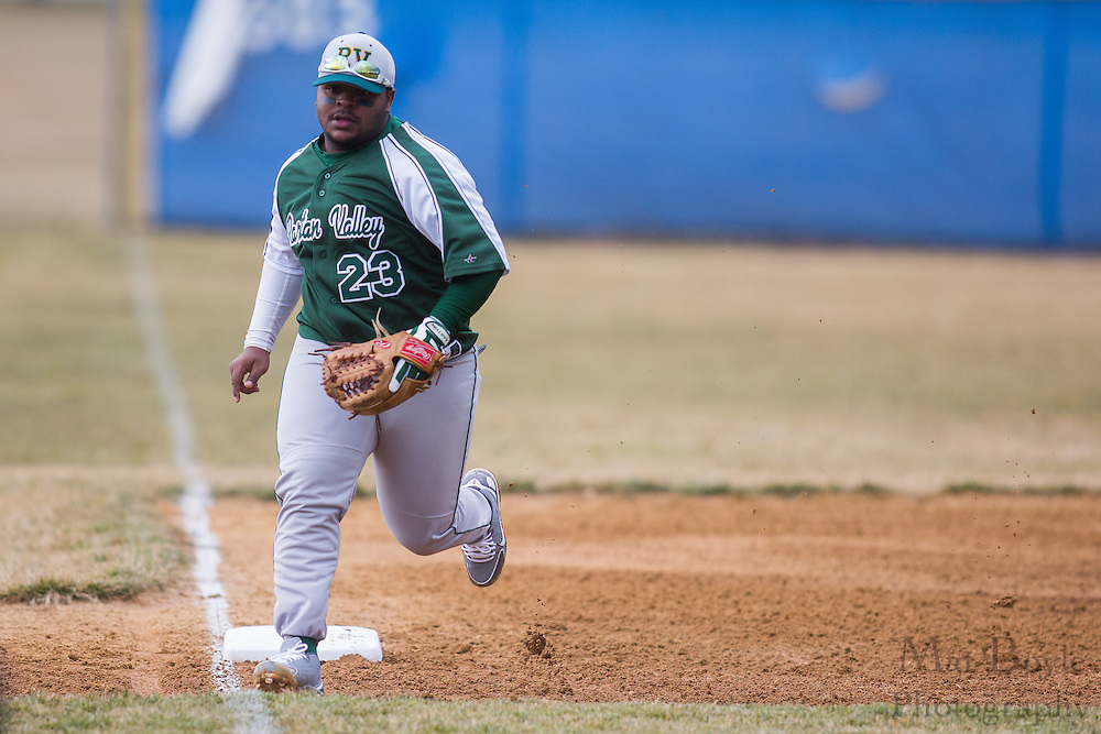 Raritan Valley Community College Baseball Freshman Third Baseman Omar Lewis (23) - Raritan Valley Baseball hosted by Gloucester County College at Gloucester County College in Sewell, NJ on Friday March 1, 2013. (photo / Mat Boyle)