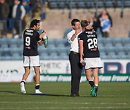 16th September 2017, Dens Park, Dundee, Scotland; Scottish Premier League football, Dundee versus St Johnstone; Dundee manager Neil McCann hugs Lewis Spence at the end