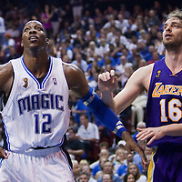 BASKET BALL - FINALS NBA 2008/2009 - LOS ANGELES LAKERS V ORLANDO MAGIC - GAME 5 -  ORLANDO (USA) - 14/06/2009 - .DWIGHT HOWARD (ORLANDO MAGIC), PAU GASOL (LOS ANGELES LAKERS)