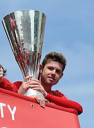 Bristol City's academy player, Tom Fry with the Johnstone Paint Trophy - Photo mandatory by-line: Dougie Allward/JMP - Mobile: 07966 386802 - 04/05/2015 - SPORT - Football - Bristol -  - Bristol City Celebration Tour