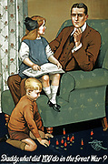 Poster showing a father with his children after the war. the children are saying 'Daddy what did you do in the war?'. This was a propaganda poster in England during the First World War. dated 1915-16