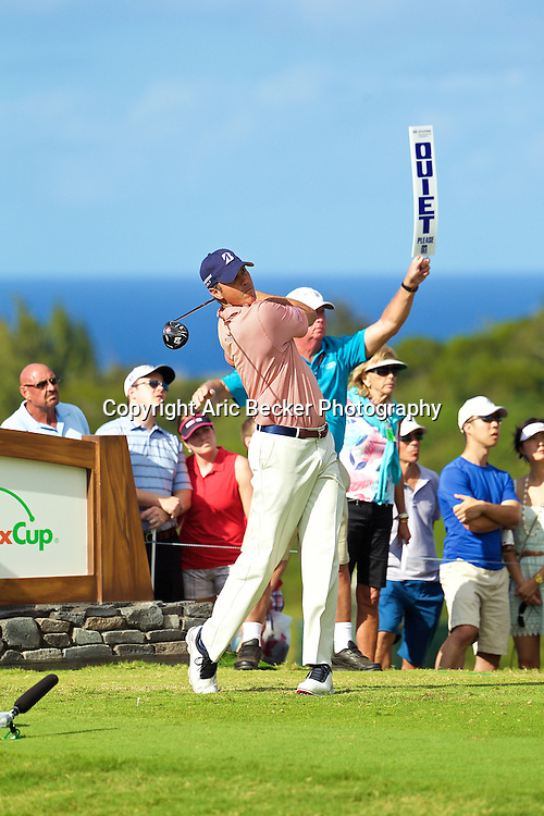 January 09 2015:  Matt Kuchar tees off on number fourteen during the First Round of the Hyundai Tournament of Champions at Kapalua Plantation Course on Maui, HI.