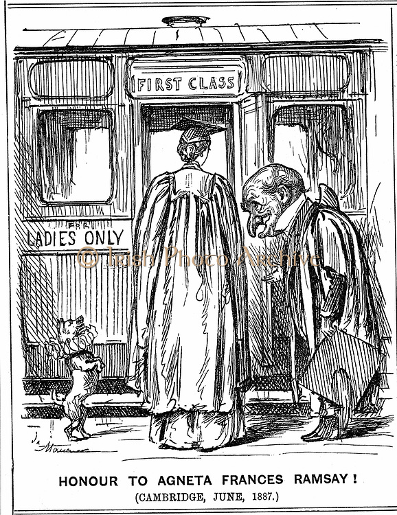 Mr Punch bows to Agneta Frances Ramsay who sat, and passed with First Class Honours, the papers set, but could not receive a degree as Cambridge did not award them to women at this time. George du Maurier cartoon from 'Punch', London, 2 July 1887. Engraving