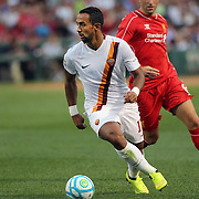 Mehdi Benatia, AS Roma, in action during the Liverpool Vs AS Roma friendly pre season football match at Fenway Park, Boston. USA. 23rd July 2014. Photo Tim Clayton