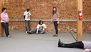 (from left) Molly Guyer-Reed of Oakwood, Nate Washington of Dayton, Aaron Phillips of Dayton, Kathy Roll of Dayton and Erin Welsh of Dayton during a Lofty Aspirations improv class at The Livery in the Oregon Arts District in Dayton, Wednesday, February 15, 2012.