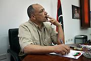 Mokhtar al Fernana ,.head of west libya command dans son bureau a Tripoli.