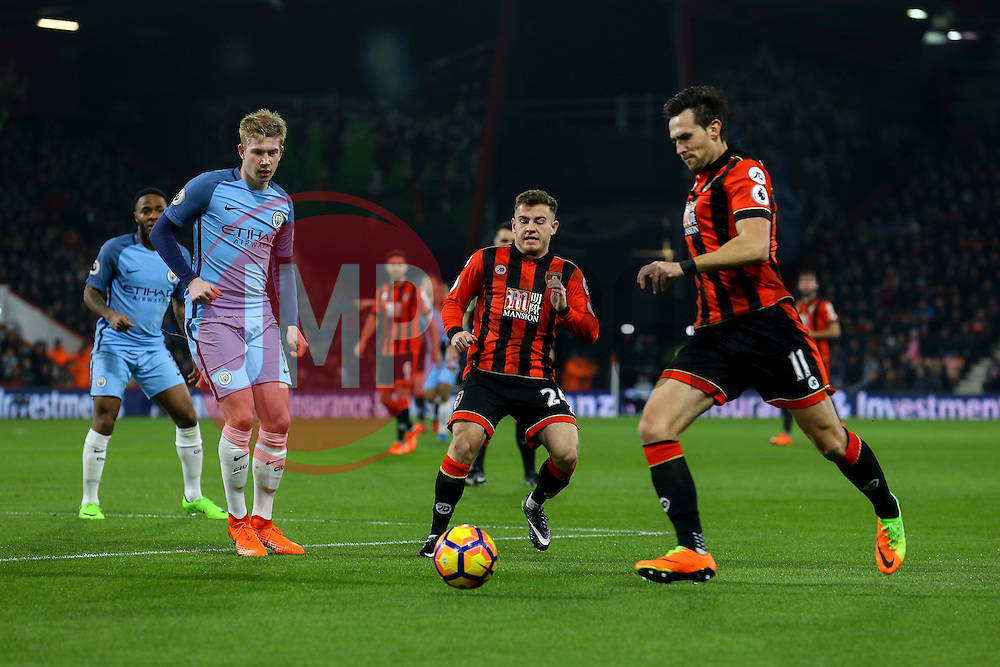 Ryan Fraser of Bournemouth passes to Charlie Daniels of Bournemouth as the attack Manchester City defence - Mandatory by-line: Jason Brown/JMP - 13/02/2017 - FOOTBALL - Vitality Stadium - Bournemouth, England - Bournemouth v Manchester City - Premier League