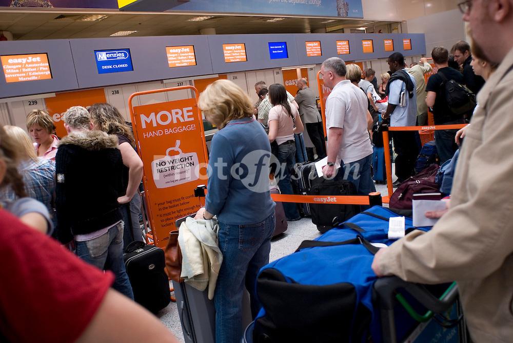 Easyjet check in desks; Gatwick airport UK 2007