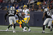 Aug 22, 2019; Winnipeg, Manitoba, CAN; Green Bay Packers quarterback Tim Boyle (8) throws a pass against the Oakland Raiders  in the first half at Investors Group Field. The Raiders defeated the Packers 22-21.