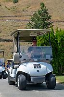 KELOWNA, CANADA - JULY 21: Alumni Joe Gatenby drives a golf cart at the Kelowna Rockets Alumni golf tournament at Black Mountain Golf Club in Kelowna, British Columbia, Canada.  (Photo by Marissa Baecker/Shoot the Breeze)  *** Local Caption ***