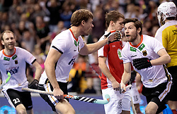 BERLIN - Indoor Hockey World Cup<br /> Final: Germany - Austria<br /> foto: Martin Zwicker scored and celebrates.<br /> WORLDSPORTPICS COPYRIGHT FRANK UIJLENBROEK