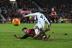 Adam Smith of Bournemouth sliding tackle on Jason Puncheon of Crystal Palace - Mandatory by-line: Jason Brown/JMP - Mobile 07966 386802 26/12/2015 - SPORT - FOOTBALL - Bournemouth, Vitality Stadium - AFC Bournemouth v Crystal Palace - Barclays Premier League