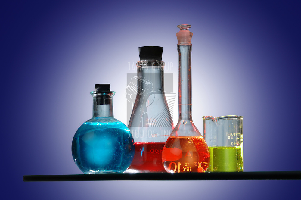 Chemistry equipment filled with different color chemicals