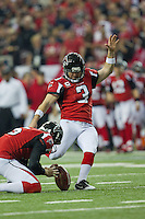 20 January 2013: Kicker (3) Matt Bryant of the Atlanta Falcons kicks an extra point against the San Francisco 49ers during the first half of the 49ers 28-24 victory over the Falcons in the NFC Championship Game at the Georgia Dome in Atlanta, GA.