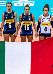 16-10-2018 JPN: World Championship Volleyball Women day 17, Nagoya<br /> Italy - Serbia / Ofelia Malinov #5 of Italy, Lucia Bosetti #16 of Italy, Monica De Gennaro #6 of Italy