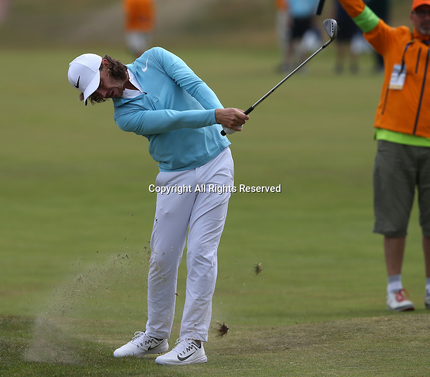 July 19th 2017, Royal Birkdale Golf Club, Southport, England; The 146th Open Golf Championship, Final Practice Day; Tommy Fleetwood (ENG) strikes his approach shot to the third green