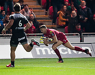 Scarlets' Tom Prydie scores his sides first try<br /> <br /> Photographer Simon King/Replay Images<br /> <br /> European Rugby Champions Cup Round 6 - Scarlets v Toulon - Saturday 20th January 2018 - Parc Y Scarlets - Llanelli<br /> <br /> World Copyright © Replay Images . All rights reserved. info@replayimages.co.uk - http://replayimages.co.uk