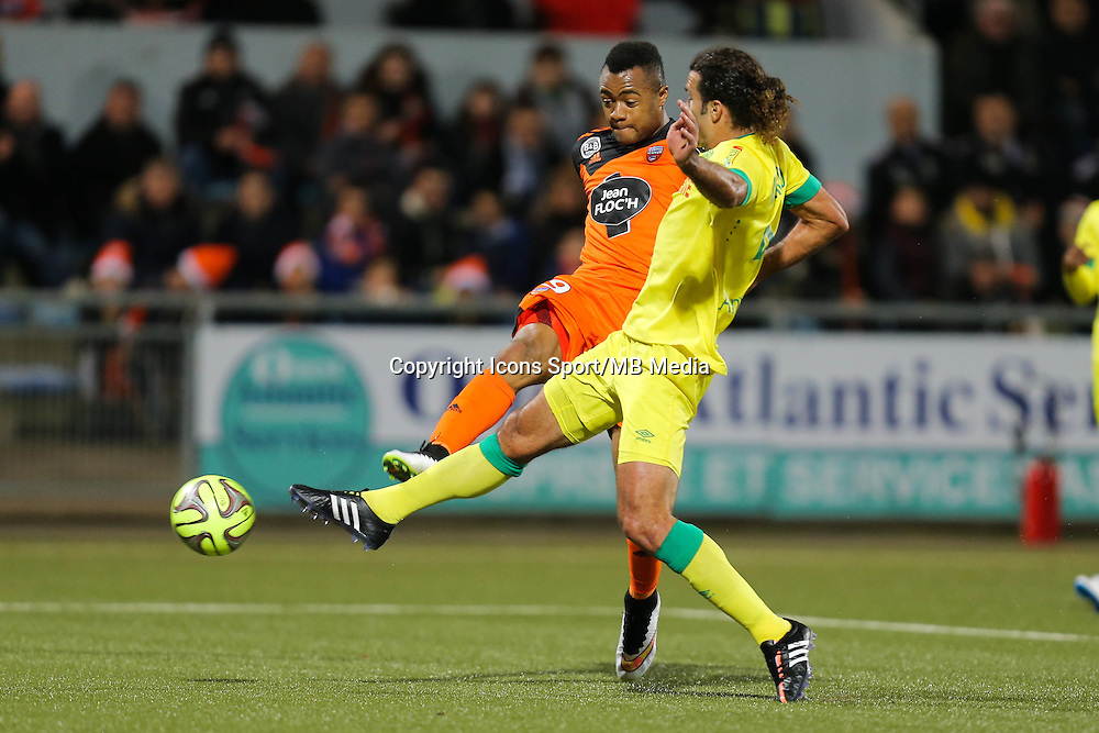 Jordan AYEW / Oswaldo VIZCARRONDO - 20.12.2014 - Lorient / Nantes - 17eme journee de Ligue 1 -<br />