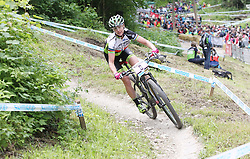 01.06.2014, Bullentaele, Albstadt, GER, UCI Mountain Bike World Cup, Cross Country Damen, im Bild Gunn-Rita Dahle Flesjaa Norwegen // during Womens Cross Country Race of UCI Mountainbike Worldcup at the Bullentaele in Albstadt, Germany on 2014/06/01. EXPA Pictures © 2014, PhotoCredit: EXPA/ Eibner-Pressefoto/ Langer<br /> <br /> *****ATTENTION - OUT of GER*****