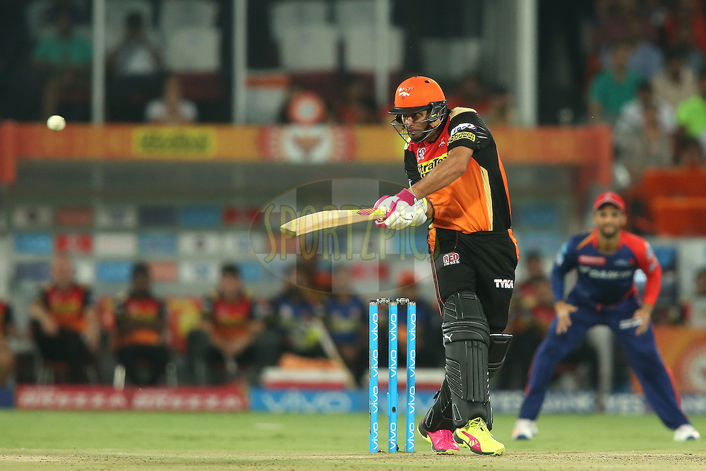 Yuvraj Singh of Sunrisers Hyderabad pulls a delivery through the leg side during match 42 of the Vivo IPL 2016 (Indian Premier League) between the Sunrisers Hyderabad and the Delhi Daredevils held at the Rajiv Gandhi Intl. Cricket Stadium, Hyderabad on the 12th May 2016<br /> <br /> Photo by Shaun Roy / IPL/ SPORTZPICS
