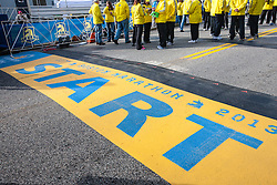 2013 Boston Marathon: start line in Hopkinton