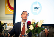 Brexit Party launch event<br />Nigel Farage and Richard Tice, party chairman launch the next tranche of Brexit Party candidates at an event in London, Great Britain <br />House Terrace<br />23rd April 2019<br /><br />New candidates standing for the Brexit Party in the European Parliament Elections in May 2019 <br /><br /><br />Nigel Farage MEP with St George&rsquo;s Day roses on the table infront <br /><br />Photograph by Elliott Franks