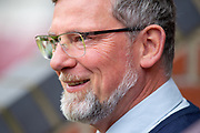 Heart of Midlothian manager Craig Levein is all smiles before the Ladbrokes Scottish Premiership match between Heart of Midlothian and Kilmarnock at Tynecastle Stadium, Gorgie, Scotland on 4 May 2019.