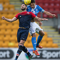 St Johnstone v Turriff Utd FC.. 02.08.16  IRN-BRU CUP 1st Round  <br />Aaron Comrie gets above Andrzej Kieczkowski<br />Picture by Graeme Hart.<br />Copyright Perthshire Picture Agency<br />Tel: 01738 623350  Mobile: 07990 594431