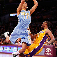 06 October 2013: Los Angeles Lakers small forward Shawne Williams (3) takes the charge off Denver Nuggets power forward Anthony Randolph (15) during the Denver Nuggets 97-88 victory over the Los Angeles Lakers at the Staples Center, Los Angeles, California, USA.