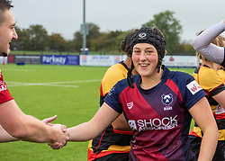 Clara Nielson of Bristol Bears Women thanks the referee after the final whistle at Shaftesbury Park - Mandatory by-line: Paul Knight/JMP - 26/10/2019 - RUGBY - Shaftesbury Park - Bristol, England - Bristol Bears Women v Richmond Women - Tyrrells Premier 15s